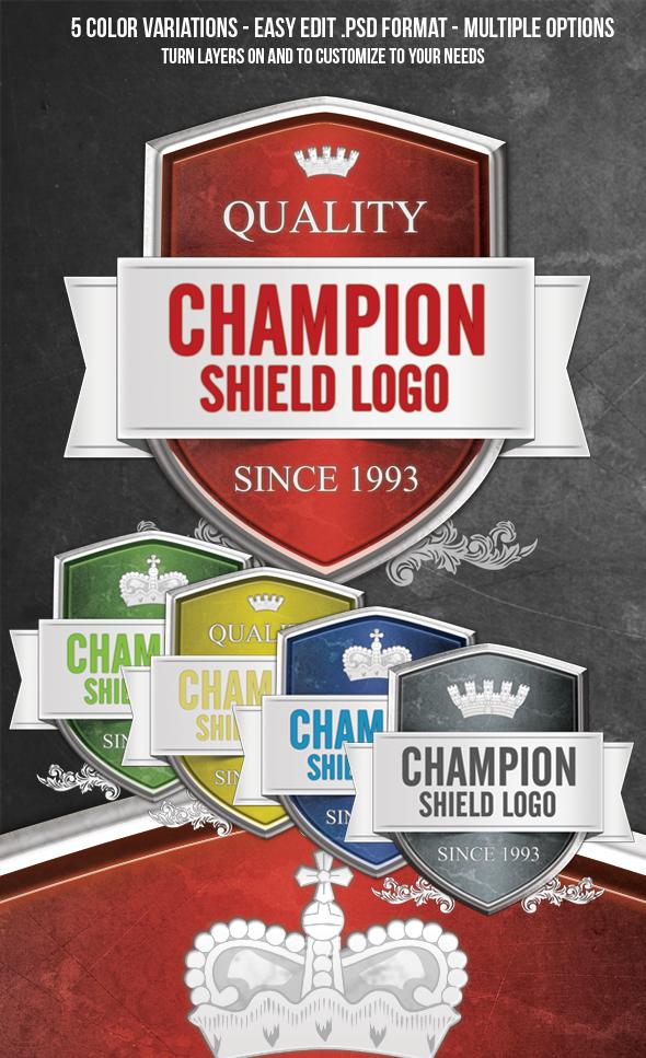 Shield Crest Badge Logo PSD File